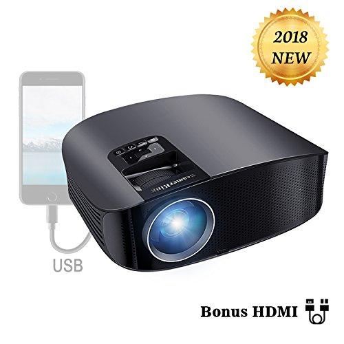 Proyector HD, BeamerKing LED Proyector Video Portátil 3500 Lúmenes Soporte Full HD 1080P USB VGA HDMI AV, Compatible con Smartphones iPhone iPad PS4 Xbox