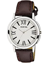 Golden Bell Original White Dial Brown Strap Analog Wrist Watch For Men - GB-764