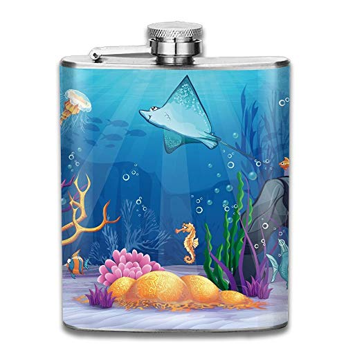 Gxdchfj Ocean Sealife Navy Fish Moss Shells Bubbles Stones and Sunbeams Rays New Brand 304 Stainless Steel Flask 7oz Navy Bubble