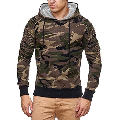 UJUNAOR Herren Herbst Casual Militär Camouflage Patchwork Langarm Hoodie Top Bluse(2XL,Braun)