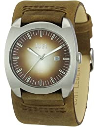 Just Watches Herren-Armbanduhr XL Analog Leder 48-S1992-SL-BR