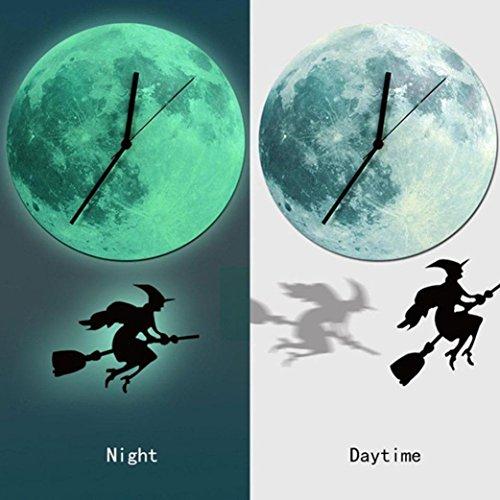 acht Mond Uhr Karikatur leuchtende Mond Wand Taktgeber Ausgangsdekoration (D) (Le Clown D'halloween)