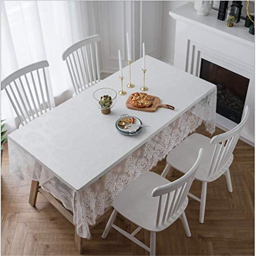 SONGHJ Spitzentischdecke schwarz weiß Bezug Serviette Kaffeetisch Cafe Buch Tischdecke weiß 145x145cm (Dollar Tischdecken Store)