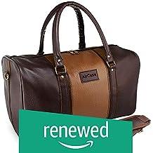 (Renewed) AirCase C51 Unisex Vegan 20 Litre Leather Duffle Shoulder Travel Bag (Brown)