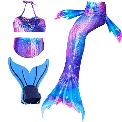 Shepretty ragazze coda da sirena bikini cosplay costumi da bagno set per nuotare per bambini,dh2222,150