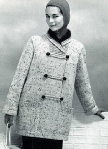Women's Silk Tweed Knitted Coat with Angora Collar & Cuffs - A Vintage 1958 Knitting Pattern - Kindle Ebook Download (digital book, jacket, ladies, winter, rabbit)