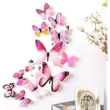 FAMILIZO 12Pcs 3D Etiquetas Engomadas Caseras De La DecoracióN De La DecoracióN Casera De La Mariposa (Rosa)
