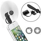 Mini USB Ventilateur, ikalula Portable Mini Cooling Ventilateur 2 en 1 Micro USB Ventilateur pour iphone 7s plus/7s/6S/ Samsung Galaxy S8/S8 plus/S7edge/S7/ HTC/ Huawei - Noir