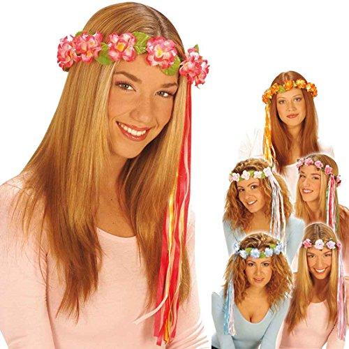 Blumenkranz Haare Haarschmuck Blumen rot Hippie Blumenhaarkranz Fee Blütenkranz Elfe Blumenschmuck Haar Kostüm Accessoire Blumenkind Mottoparty (Rote Kostüme Haare)