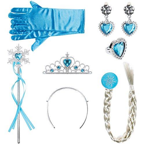 stüme Zubehör Mädchen Verkleidung set Krone Haarreifen Zopf Ring Ohrringe Zauberstab Handschuhe (Hell blau) ()