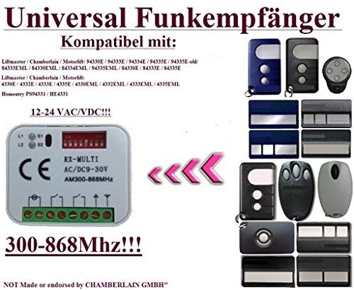 Universal Funkempfänger kompatibel mit Liftmaster / Chamberlain / Motorlift / Homentry 4330E / 4330EML / 4332E / 4332EML / 4333E / 4333EML / 4335E / 4335EML / HE4331 Fernbedienungen. 2 Kanäle, Rolling / Fixed code 433–868MHz 12 – 24 VAC/DC empfänger.