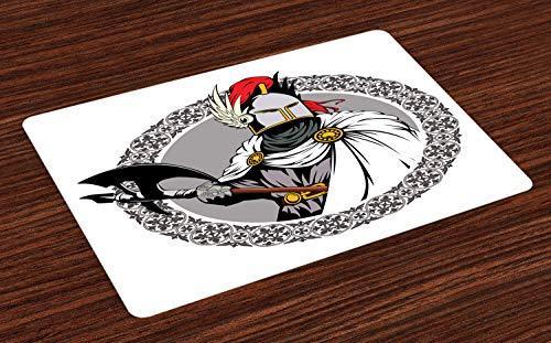 ABAKUHAUS Mittelalterlich Platzmatten, Der mittelalterliche Ritter mit traditionellem Kostüm und Alter Maske Heroic Past Theme, Tiscjdeco aus Farbfesten Stoff für das Esszimmer und Küch, Mehrfarbig