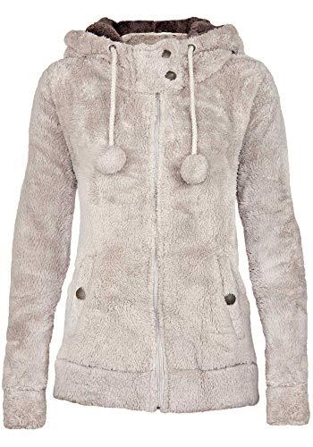 Urban Surface Damen Teddy Fleecejacke mit Öhrchen und Kapuze   Kuscheliger Zip Kapuzenpullover, Größe:L, Farbe:Light Beige