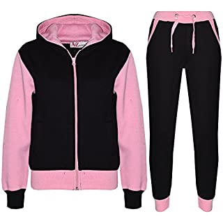 A2Z 4 Kids® Kids Tracksuit Girls Boys Designer's Plain Contrast - Plain 101 - Baby Pink - 11-12 Years