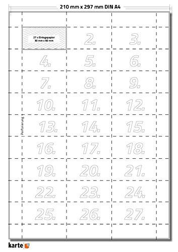 1350 x Karteo® Blankoschilder | Papiereinlagen | Einleger 160g/m² | weiß hochwertiges perforiertes Papier 30 x 60 mm auf 50 Stk. DIN A4 Bögen zum Selbstbedrucken beidseitig
