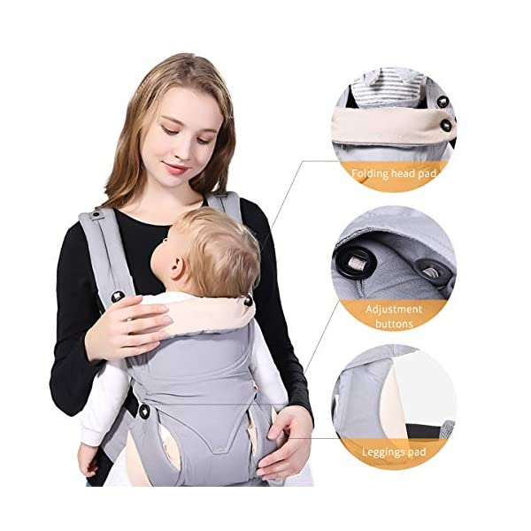 SONARIN 4-in-1 Convertible Baby Carrier,Sunscreen Hood,Ergonomic,for Newborn to Toddler(3-48 Months),Maximum Load 20kg,Front Facing Baby Carrier,Child Carrier Backpack(Grey) SONARIN Applicable age and Weight:3-48months of baby, the maximum load:20KG, and adjustable the waist size can be up to 47.2 inches (about 120 cm). Material:designers carefully selected soft and delicate 100% Cotton fabric.Soft machine wash,do not fade,ensure the comfort and breathability,high strength,safe and no deformation,to the baby comfortable and safe experience. Description:Patented design of the auxiliary spine micro-C structure and leg opening design,natural M-type sitting.Adjustable back panel that grows with baby and offers head and neck support with sleeping hood that provides UV50+ sun protection. 5