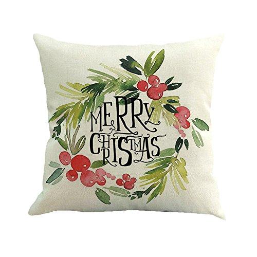 Lucky Mall Happy Christmas Kissenbezüge Leinen Sofa Kissenbezug Home Decor Kissenbezug
