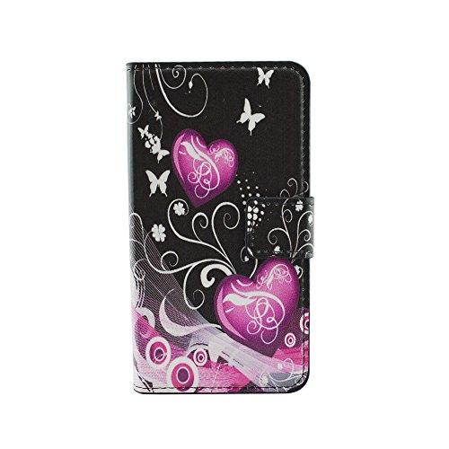 Qiaogle telefono case - custodia in pelle pu basamento custodia protettiva cover per lg g2 (5.2 pollici) - hy12 / pink balloons love heart
