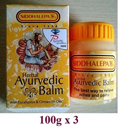 100g X3 Siddhalepa Ayurveda Ayurvedic Herbal Balm Pain Cold Flu Headaches (100g x3) by Siddhalepa -