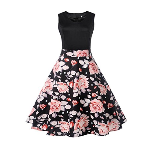 Keepwin Elegant Partykleid, Damen 50s Retro Hepburn Minikleid Vintage Gedruckt Rockabilly Kleid Frauen Ärmellos Casual Swing Sommerkleid (S, Blumen| Schwarz E)
