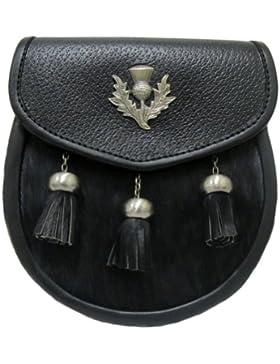 Kiltsporran mit schwarzem Kuhfell - Troddeln im Antik-Look & Distelemblem