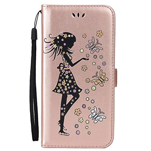 EKINHUI Case Cover Fairy Girl & Flowers Embossing Style Synthetik Leder Tasche Horizontale Flip Stand Brieftasche Tasche mit Lanyard & Card Slots für iPhone 6 Plus & 6s Plus ( Color : Blue ) Rosegold