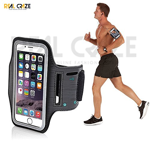 Real Craze Adjustable Sports Running, Gym, Cycling Anti-Slip Ultra Light Weight Armband Mobile Holder Compatible with OnePlus 6T, Redmi, iPhones, etc