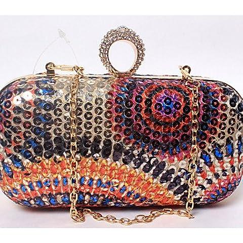Da Wu Jia Ladies borsetta di alta qualità delle donne di lusso in materiale plastico satinato / formale / evento/parte / Matrimoni Borsa serale perline colorate di diamanti stampa piccola borsetta Vintage , blu