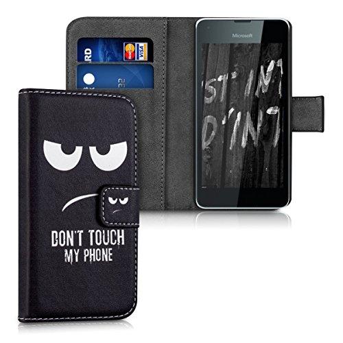 kwmobile Wallet Case Kunstlederhülle für Microsoft Lumia 550 - Cover Flip Tasche in Don't touch my Phone Design mit Kartenfach und Ständerfunktion in Weiß Schwarz