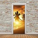 DOORWP @ Pegatina para la Puerta en 3D, 2 Paneles Imagen de 3D de murales de cocoteros Pegatinas para la...