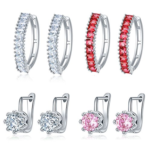 Jewels Galaxy Glamorous Sparkling AAA Cubic Zirconia Stunning Platinum Plated Clip-On & Hoop Earrings Combo - Pair of 4 Women/Girls