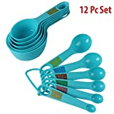 Okayji Plastic Measuring Cups and Spoon Set, 12-Pieces, Blue