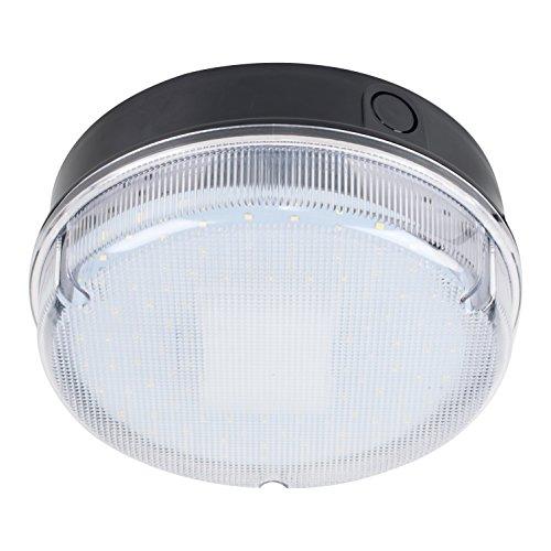 MiniSun Plafonnier Applique Hublot Rond Polycarbonate Noir avec Diffuseur Obscure. IP65 Blanc 9 watt LED (120 x SMD) 6500K