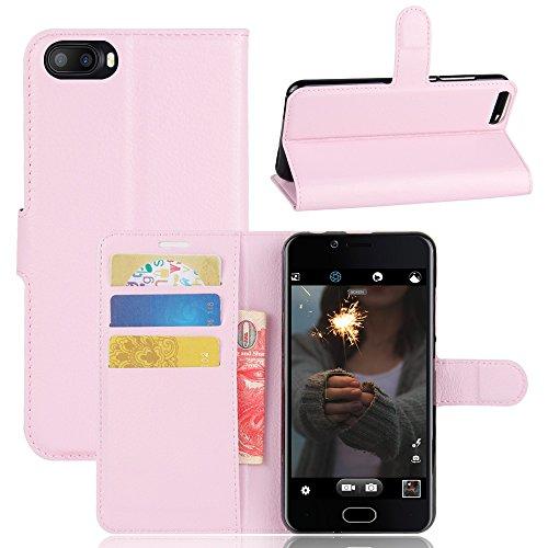Kihying Hülle für Doogee Shoot 2 Hülle Schutzhülle PU Leder Flip Wallet Fashion Geschäft HandyHülle (Pink - JFC08)