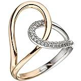 *GIRAHLUTIONS* Damen Ring 585 Gold Rotgold Weißgold bicolor 36 Diamanten Brillanten Diamantring
