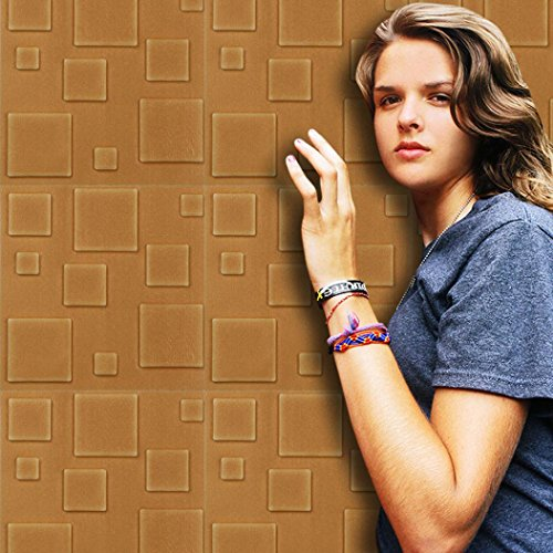 chaum 3d Selbstklebende Aufkleber Dekor Fliesen Wasserdichte Wand Aufkleber Wall (braun) ()