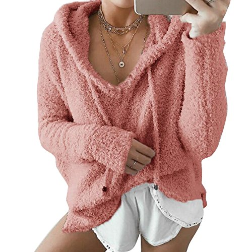 Hibote Femmes Hoodie Tops, Mesdames Velours À Manches Longues Lâche Chemisier Casual Tops Sweat-shirt Robe Pull Orange