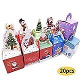 20 x Weihnachtsgeschenkboxen für Partys aus Papier, süßes Cartoon-Geschenk, Obst, Süßigkeiten, Cupcakes, Weihnachten, Süßigkeiten, Tragetaschen, Boxen für Hochzeit, Weihnachten, Festival, Party