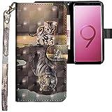 CLM-Tech Samsung Galaxy S9 Plus Hülle, Tasche aus Kunstleder, Katze Tiger grau, PU Leder-Tasche für Galaxy S9 Plus Lederhülle