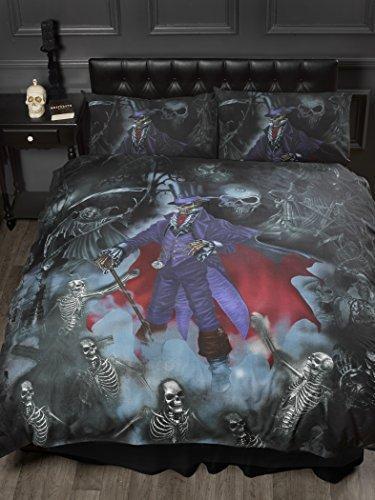 Single Bed Magistus, Alchemy Gothic Duvet / Quilt Cover Bedding Set, Gothik Series Skeletons, Skulls, Graveyard, Grim Reaper, Purple, Black, Red by Alchemy Gothic