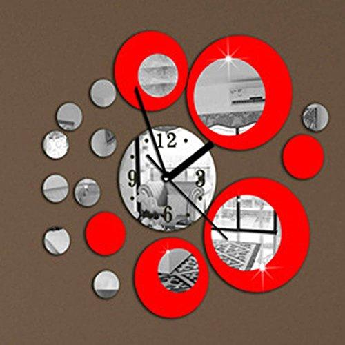 Vinilo retro de pared reloj y circulos espejo rojo decoracion salon, d