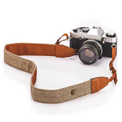 TARION tracolla vintage cintura per tutte le fotocamere DSLR Nikon Canon Sony Pentax classico bianco e marrone Weave