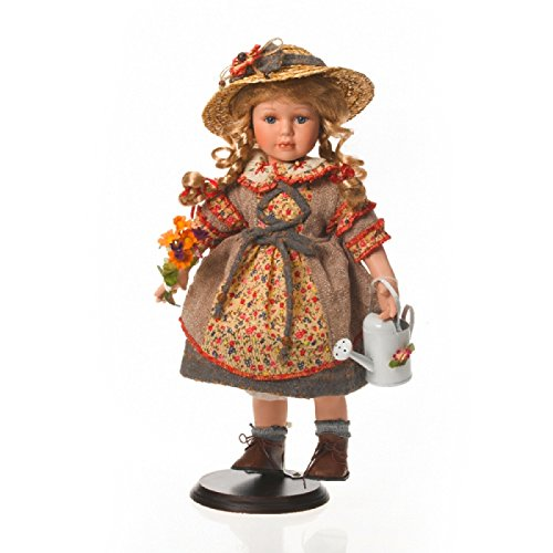 SAMMLERPUPPE Porzellanpuppe, Künstlerpuppe Blumen Mädchen mit Strohhut, Gärtnerin 42cm 118148