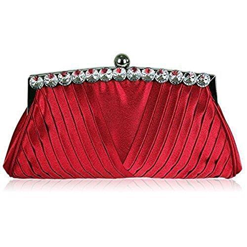 TrendStar Frauen Kupplungs Taschen Damen Kristall Abend Abschlussball Partei Hochzeit Taschen Rot 2