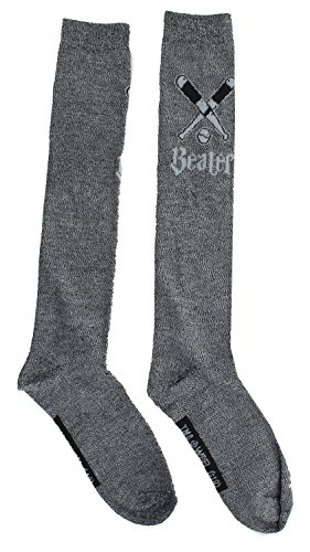Harry Potter Quidditch Women's Knee High Socks, Beater (Gray)