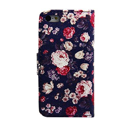 MOONCASE Étui pour Apple iPhone 5 / 5S Printing Series Coque en Cuir Portefeuille Housse de Protection à rabat Case A03 A13 #1117
