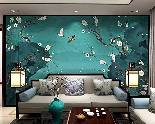 nutzerdefinierte Tapete Moderne Handgemalte Birne Blume Stift Blume Vogel Tv Hintergrundwände Dekoration Wandbild-350Cmx245Cm ()