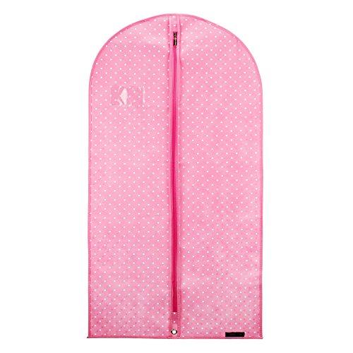 Hangerworld - Atmungaktive Kleiderhülle Kleidersack mit Transport-Öse - Rosa Weiß Gepunktet - 114cm (Polka Tanz Kostüm)