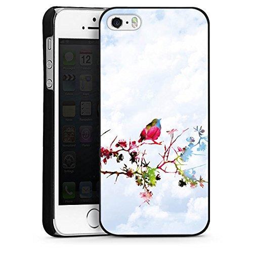 Apple iPhone 5s Housse Étui Protection Coque Oiseau Moineau Branche CasDur noir
