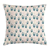 DANCENLI Bunny Throw Pillow Cushion Cover, Childish Kids Nursery Pattern Hand-Drawn Rabbit Faces with Bowties, Decorative Square Accent Pillow Case, 18 X 18 Inches, Slate Blue Black and Beige